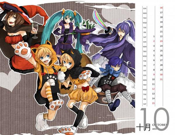 Tags: Anime, Tama Songe, 2011 Touhou + Vocaloid Calendar, VOCALOID, Kamui Gakupo, KAITO, Hatsune Miku, Kagamine Len, Kagamine Rin, Calendar (Source), Calendar 2011