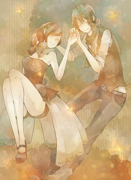 Tags: Anime, Mizutamari Tori, VOCALOID, MEIKO (VOCALOID), KAITO, Mobile Wallpaper, Pixiv