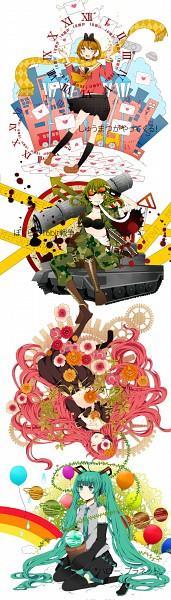 Tags: Anime, Komine, VOCALOID, Megurine Luka, Hatsune Miku, GUMI, *Hello Planet。, Wanderlast, Pixiv, Fanart, Shuumatsu ga Yattekuru!, Bokura no 16bit Warz