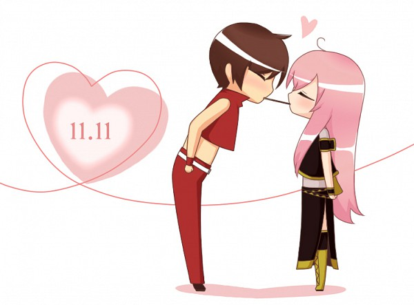 Tags: Anime, Norarin, VOCALOID, MEITO, Megurine Luka, Pocky Game