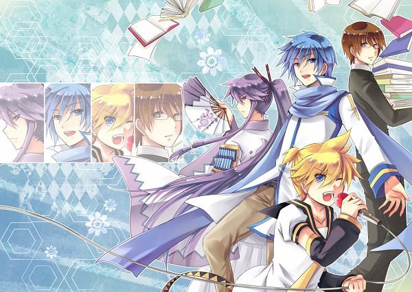 Tags: Anime, Aw.H, VOCALOID, Hiyama Kiyoteru, Kamui Gakupo, KAITO, Kagamine Len, Gensou Airly, Microwave Oven, Wallpaper