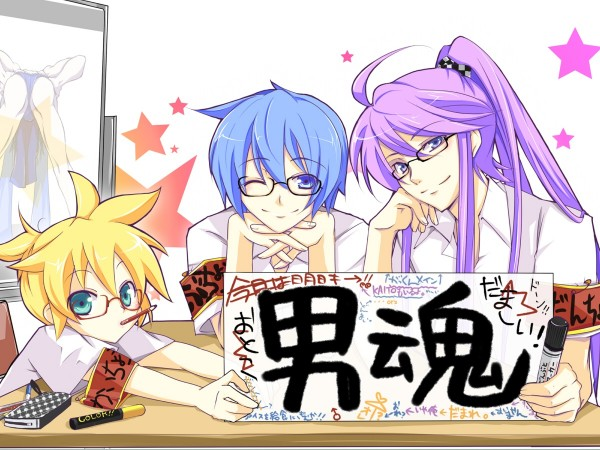 Tags: Anime, Haru Aki, VOCALOID, KAITO, Kagamine Len, Kamui Gakupo, Wallpaper