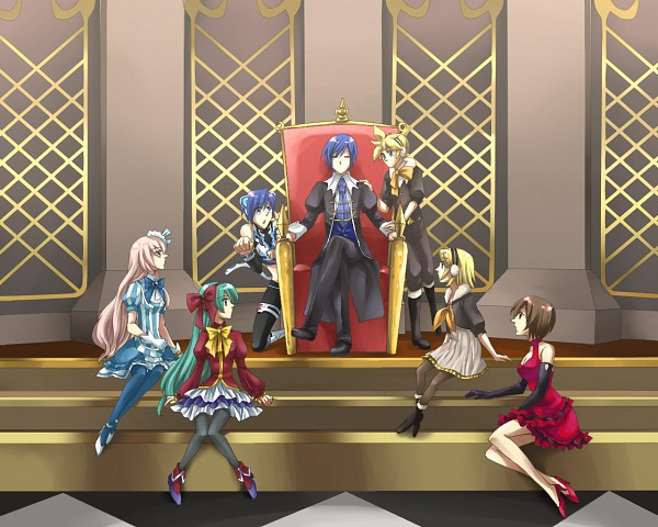 Tags: Anime, Pixiv Id 2077343, Project DIVA 2nd, VOCALOID, KAITO, Hatsune Miku, Kagamine Len, Kagamine Rin, MEIKO (VOCALOID), Megurine Luka, Harem, Sitting On Throne, Vertical-striped Dress