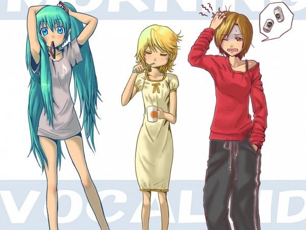 Tags: Anime, VOCALOID, Hatsune Miku, MEIKO (VOCALOID), Kagamine Rin, Toothbrushing