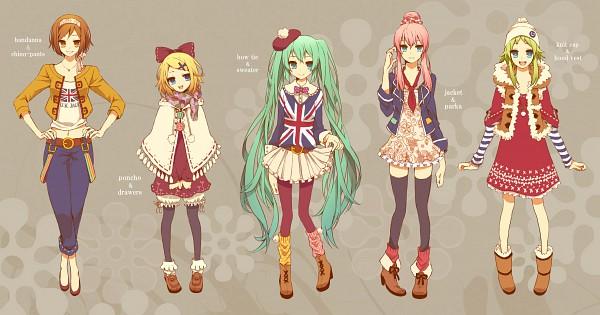 Tags: Anime, Shivue, VOCALOID, GUMI, MEIKO (VOCALOID), Hatsune Miku, Megurine Luka, Kagamine Rin, Poncho, Parka, Wallpaper, Fanart From Pixiv, PNG Conversion
