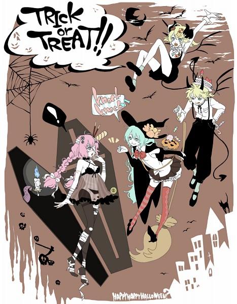Tags: Anime, Toadstool, VOCALOID, Hatsune Miku, Megurine Luka, Kagamine Len, Kagamine Rin, Spider, Coffin, Text: Trick Or Treat, Fanart, Trick and Treat (VOCALOID), Pixiv