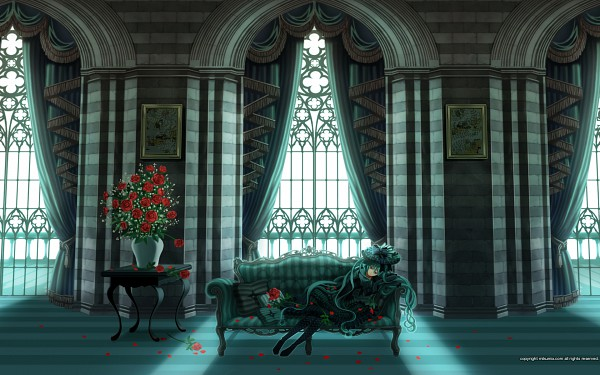 Tags: Anime, VOCALOID, Hatsune Miku, Vase, Roomscape, Laying on Couch, Mikumix, Wallpaper