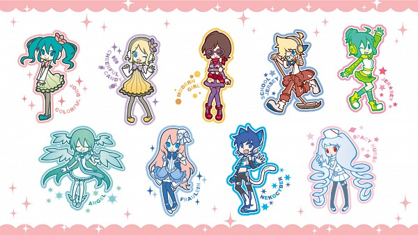 Tags: Anime, Hakusairanger, Project DIVA 2nd, VOCALOID, Megurine Luka, KAITO, Hatsune Miku, Kagamine Len, Kagamine Rin, MEIKO (VOCALOID), Jacket Around Waist, Project DIVA Electronic Kitty, Project DIVA Cheerful Candy