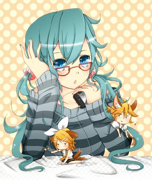 Tags: Anime, VOCALOID, Kagamine Len, Kagamine Rin, Hatsune Miku, iPod, Pixiv, Fanart