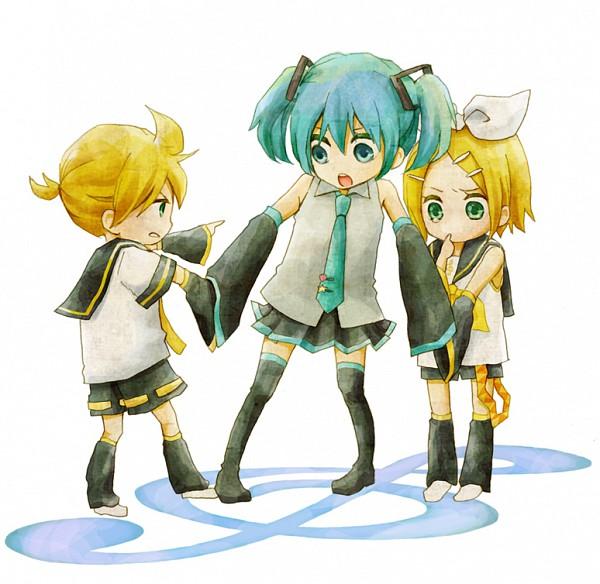 Tags: Anime, Sakuko, VOCALOID, Kagamine Rin, Hatsune Miku, Kagamine Len, Pulling, Pixiv, Fanart