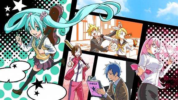 Tags: Anime, VOCALOID, KAITO, Hatsune Miku, Kagamine Len, Kagamine Rin, MEIKO (VOCALOID), Megurine Luka, HD Wallpaper, Facebook Cover, Artist Request, Wallpaper