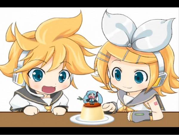 Tags: Anime, Mameshiba (Artist), VOCALOID, Hatsune Miku, Kagamine Len, Kagamine Rin, Hachune Miku, Pudding, Artist Request, Screenshot