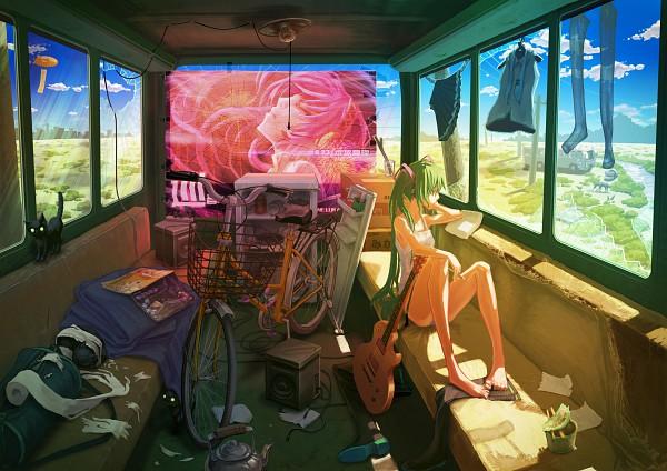 Tags: Anime, Huu00, VOCALOID, Megurine Luka, Hatsune Miku, Refrigerator, Roomscape, Toilet, Kettle, Blimp, Looking Out Window