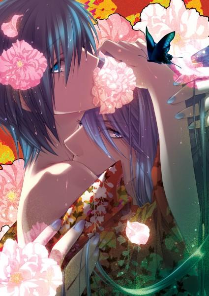 Tags: Anime, Migiwa Hasu, VOCALOID, Kamui Gakupo, KAITO, Peony, Fanart, Pixiv, Mobile Wallpaper