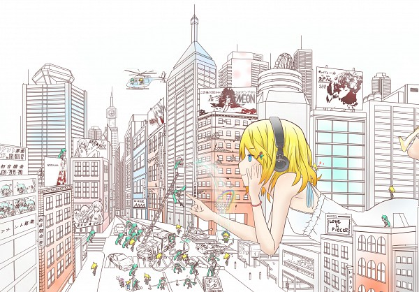 Tags: Anime, Sweeter, VOCALOID, Hatsune Miku, Megurine Luka, Kagamine Len, Kagamine Rin, Giant, Helicopter, Board, PNG Conversion, Piapro Illustrated, Pixiv