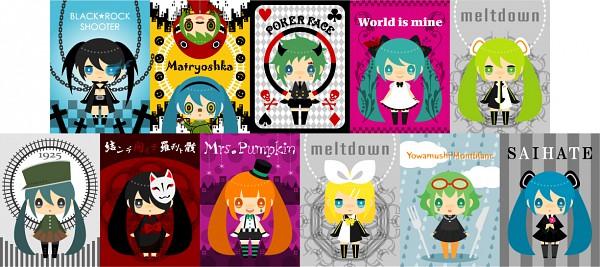 Tags: Anime, gozen4ji, Black★Rock Shooter, Project DIVA F 2nd, VOCALOID, Hatsune Miku, GUMI, Kagamine Rin, Black★Rock Shooter (Cosplay), Project DIVA Supreme, World is Mine, Song-Over, Yowamushi Montblanc