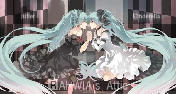 Tags: Anime, Rahwia Kim, Cinderella, VOCALOID, Hatsune Miku, Cinderella (Character), Mirror Image, Symmetry, Facebook Cover, Pixiv