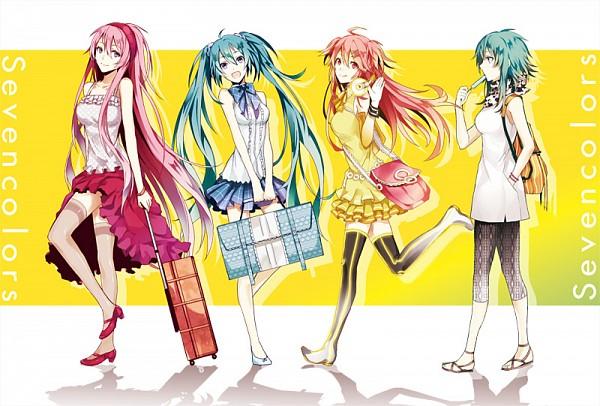 Tags: Anime, Arisaka Aco, VOCALOID, Hatsune Miku, GUMI, Megurine Luka, Kanon Nanase, Pixiv, Fanart