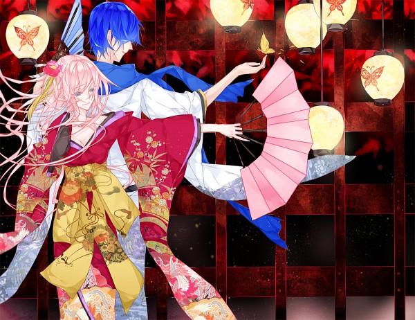 Tags: Anime, witchonly, VOCALOID, KAITO, Megurine Luka, Light Pole, Enbizaka no Shitateya, Wallpaper, Magnet, Akuno-p