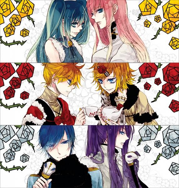 Tags: Anime, Y.tea, VOCALOID, Kagamine Len, Kagamine Rin, Kamui Gakupo, Megurine Luka, Hatsune Miku, KAITO, Fanart, Pixiv
