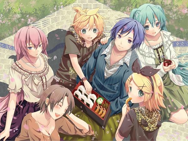 Tags: Anime, shinwa, VOCALOID, MEIKO (VOCALOID), Megurine Luka, Hatsune Miku, KAITO, Kagamine Len, Kagamine Rin, Sushi, Fanart, Pixiv