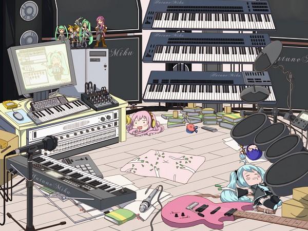 Tags: Anime, VOCALOID, Kagamine Len, Hatsune Miku, Hachune Miku, Kagamine Rin, Megurine Luka, KAITO, Takoluka, Drum, Keyboard (Instrument), Speaker, Artist Request