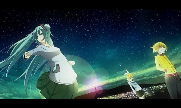 Tags: Anime, Hazfirst, VOCALOID, Hatsune Miku, Kagamine Len, Kagamine Rin, Pixiv, Fanart, HD Wallpaper, Wallpaper
