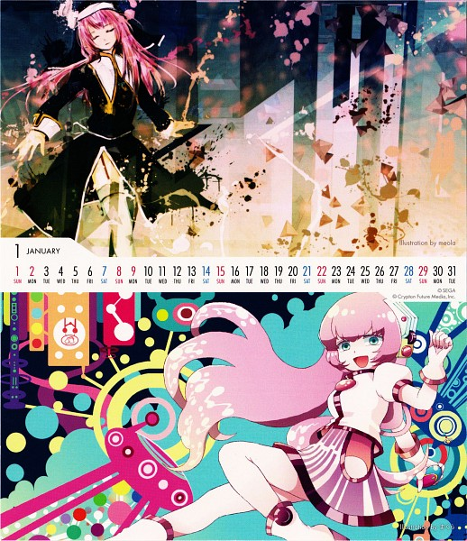 Tags: Anime, Meola, Sega, Vocaloid Calendar 2012, Project DIVA Extend, Project DIVA F 2nd, VOCALOID, Megurine Luka, Abstract Background, Night Series (Samfree), Calendar 2012, Calendar (Source), Project DIVA Silence