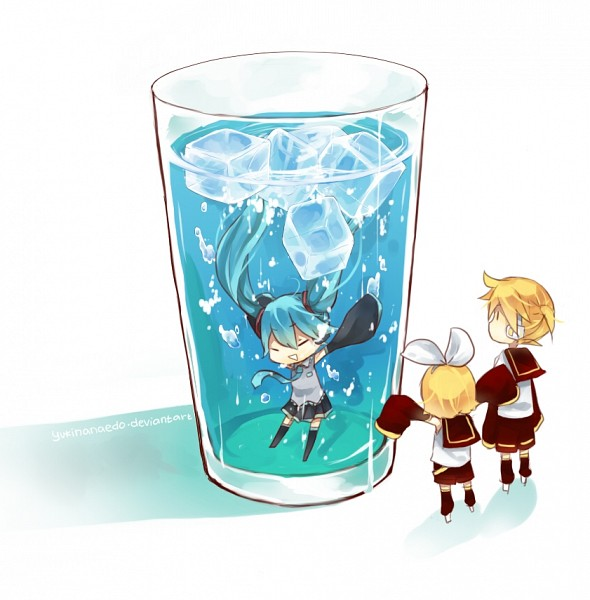 Tags: Anime, Yukinanaedo, VOCALOID, Hatsune Miku, Kagamine Len, Kagamine Rin, Ice Cube, In a Cup, deviantART, Fanart