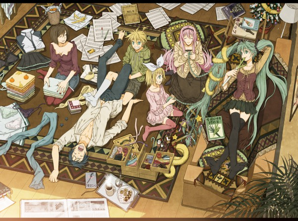 Tags: Anime, Yuuno (Yukioka), VOCALOID, KAITO, Hatsune Miku, Kagamine Len, Kagamine Rin, MEIKO (VOCALOID), Megurine Luka, Sheet Music, Fanart, Pixiv, Wallpaper