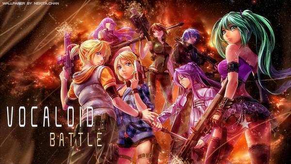 Tags: Anime, YahaKo, VOCALOID, MEIKO (VOCALOID), Megurine Luka, KAITO, Hatsune Miku, Kagamine Len, Kamui Gakupo, Kagamine Rin, Wallpaper, Edited, Self Made