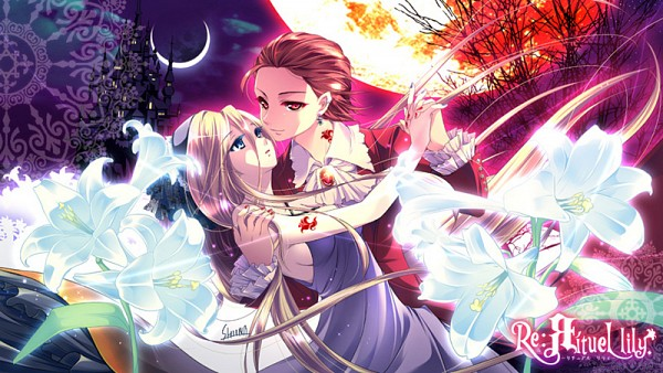 Tags: Anime, Child-box, VOCALOID, Lily (VOCALOID), MEIKO (VOCALOID), White Lily, Rituel Lily, Double Moon, Facebook Cover, Fanart