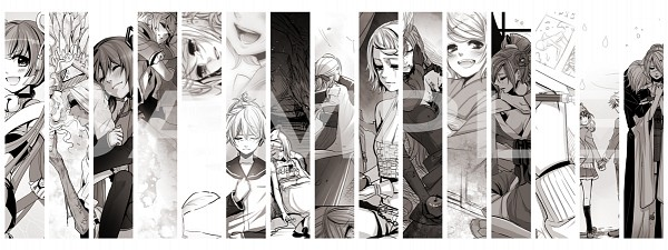 Tags: Anime, Suzunosuke, VOCALOID, Kagamine Len, Kagamine Rin, Hatsune Miku, MEIKO (VOCALOID), Nekomura Iroha, Fanart, Synchronicity, Facebook Cover, Song-Over, siGrE