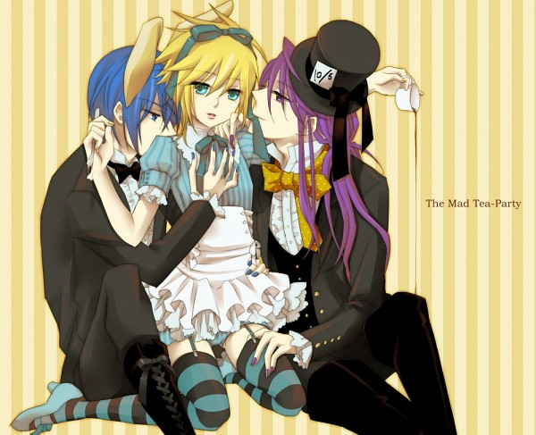 Tags: Anime, Terai Arina (TRIC), Alice in Wonderland, VOCALOID, KAITO, Kagamine Len, White Rabbit, Mad Hatter, Kamui Gakupo, Alice (Alice in Wonderland) (Cosplay), Threesome, Alice in Wonderland (Parody), Fanart