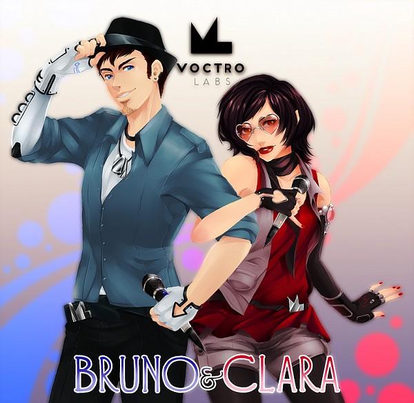 Tags: Anime, D-Artemisatto, VOCALOID, Clara (VOCALOID), Bruno (VOCALOID), Heart-shaped Glasses, Symbol-Shaped Glasses, Pixiv