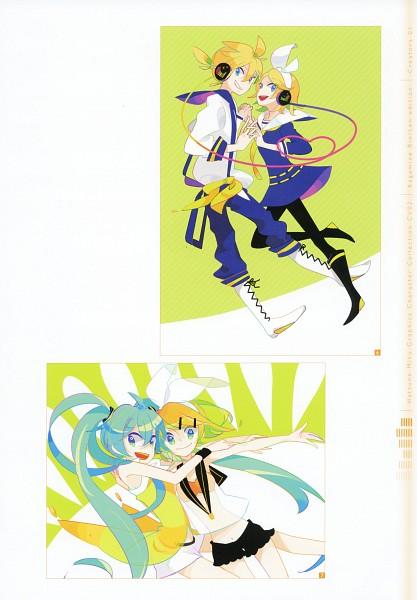 Tags: Anime, Hako (Swimjelly), Hatsune Miku Graphics Character Collection Cv02 Kagamine Rin/Len, Project DIVA 2nd, VOCALOID, Hatsune Miku, Kagamine Len, Kagamine Rin, Scan, Project DIVA Yellow