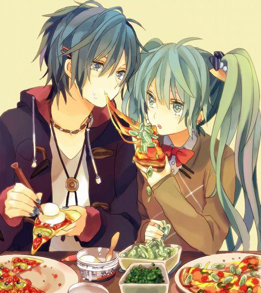 Tags: Anime, Akiyoshi, VOCALOID, KAITO, Hatsune Miku, Pizza, Pixiv, Fanart, KaiMiku