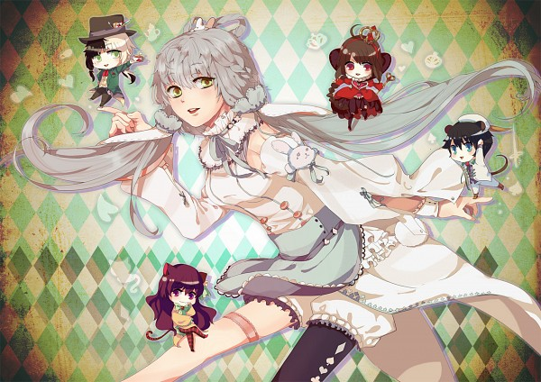 Tags: Anime, Pixiv Id 4398657, VOCALOID, Yuezheng Longya, Mo Qingxian, Yuezheng Ling, Luo Tianyi, Zhiyu Moke, Queen of Hearts (Cosplay), Dormouse (Cosplay), Alice (Alice in Wonderland) (Cosplay), Mouse Tail, Mad Hatter (Cosplay)