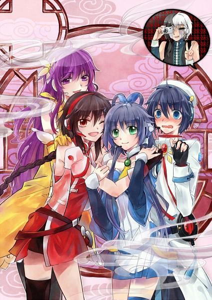 Tags: Anime, Pixiv Id 2121707, VOCALOID, Luo Tianyi, Yuezheng Longya, Mo Qingxian, Yuezheng Ling, Zhiyu Moke, Group Hug, Round Window, Pixiv, VOCALOID China