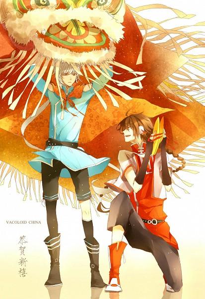 Tags: Anime, Pixiv Id 2171620, VOCALOID, Yuezheng Ling, Luo Tianyi, Dragon Dance, Lion Dance, Mobile Wallpaper, Happy 2012, Fanart, Pixiv, VOCALOID China