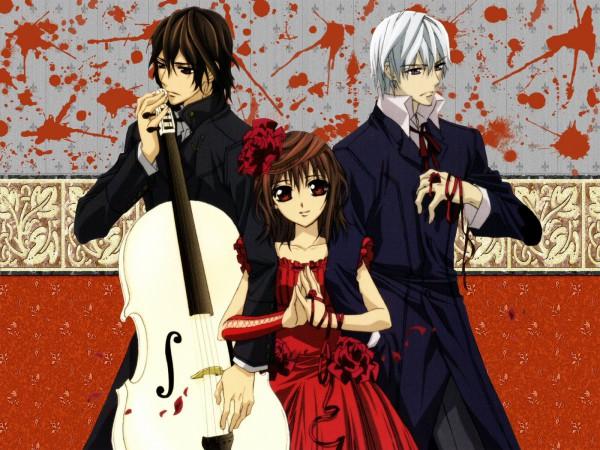 Tags: Anime, Hino Matsuri, Vampire Knight, Kuran Kaname, Yuki Cross, Kiryuu Zero, Edited, Wallpaper, Fanmade Wallpaper