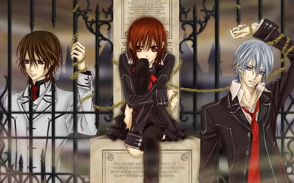 Tags: Anime, Hino Matsuri, Vampire Knight, Kiryuu Zero, Kuran Kaname, Yuki Cross, HD Wallpaper, Wallpaper