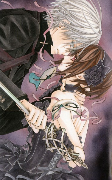 Tags: Anime, Hino Matsuri, Vampire Knight, Yuki Cross, Kiryuu Zero, Choking, Hand on Neck, Mobile Wallpaper, Official Art, Scan