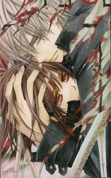 Tags: Anime, Hino Matsuri, Vampire Knight, Kiryuu Zero, Yuki Cross, Mobile Wallpaper, Official Art, Scan
