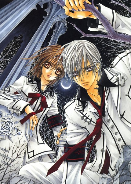Tags: Anime, Hino Matsuri, Vampire Knight Illustrations, Vampire Knight, Yuki Cross, Kiryuu Zero, Scan, Mobile Wallpaper, Official Art