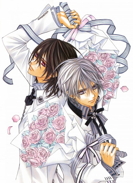Tags: Anime, Hino Matsuri, Vampire Knight Illustrations, Vampire Knight, Kiryuu Zero, Kuran Kaname, Striped Ribbon, Official Art, Scan, Mobile Wallpaper