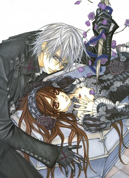 Tags: Anime, Hino Matsuri, Vampire Knight Illustrations, Vampire Knight, Yuki Cross, Kiryuu Zero, Stake, Coffin, Official Art, Scan, Mobile Wallpaper