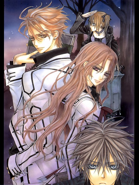 Tags: Anime, Hino Matsuri, Vampire Knight Illustrations, Vampire Knight, Souen Ruka, Touya Rima, Shiki Senri, Kain Akatsuki, Scan, Official Art