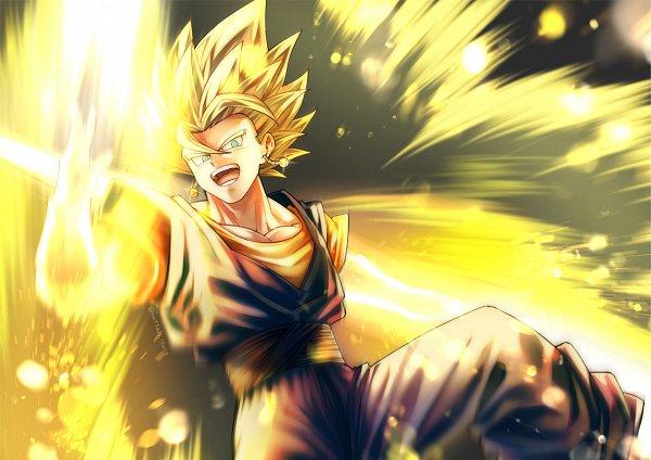 Tags: Anime, Pixiv Id 46367193, DRAGON BALL, DRAGON BALL Z, Son Goku (DRAGON BALL), Vegeta, Vegito, Character Fusion, Aura, Potara, Pixiv, Super Saiyan