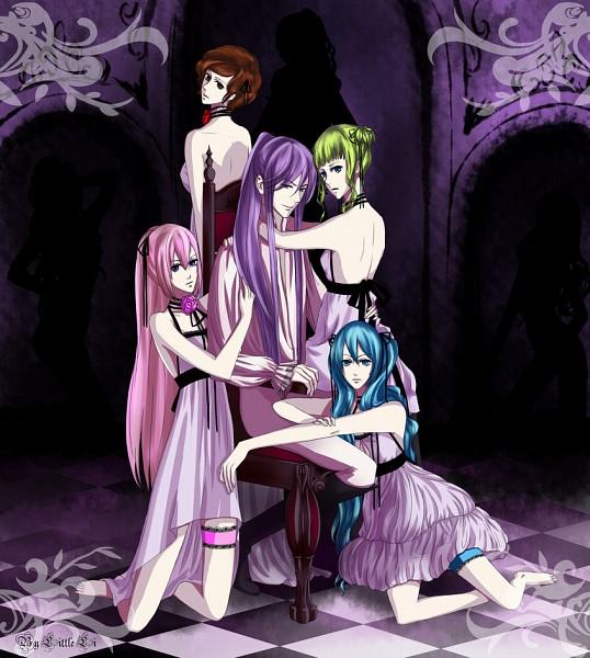 Tags: Anime, 1itt1e-1i, VOCALOID, Hatsune Miku, Kamui Gakupo, MEIKO (VOCALOID), Megurine Luka, GUMI, Harem, Fanart, Akuno-p, Venomania no Ouyake no Kyouki, The Madness Of Duke Venomania